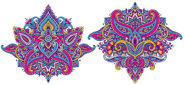 Set di elementi floreali all'henné basati su ornamenti tradizionali asiatici.