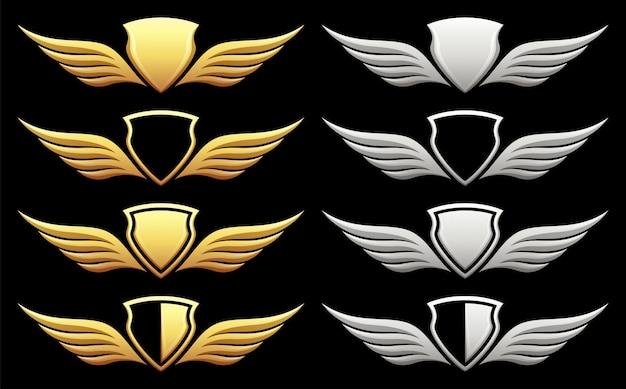 Set di scudo araldico con ali sul nero