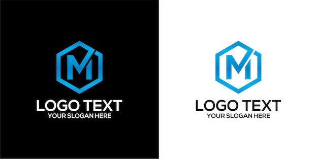 Set di logo esagonale combinato con la lettera m progetta il modello premium vector