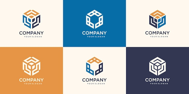 Set di forme alla moda minimaliste esagonali. elegante set di logo