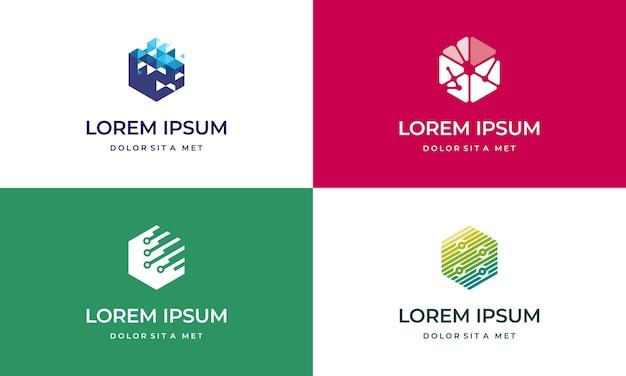 Set di modelli di design del logo hexagon tech, logo della tecnologia. vettore di simbolo logo geometrico