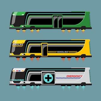 Set di autobus hi-tech in stile moderno