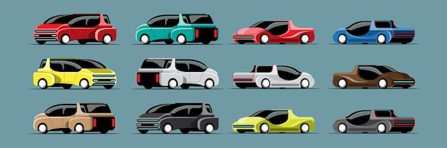 Set di auto hi-tech in stile moderno su bianco