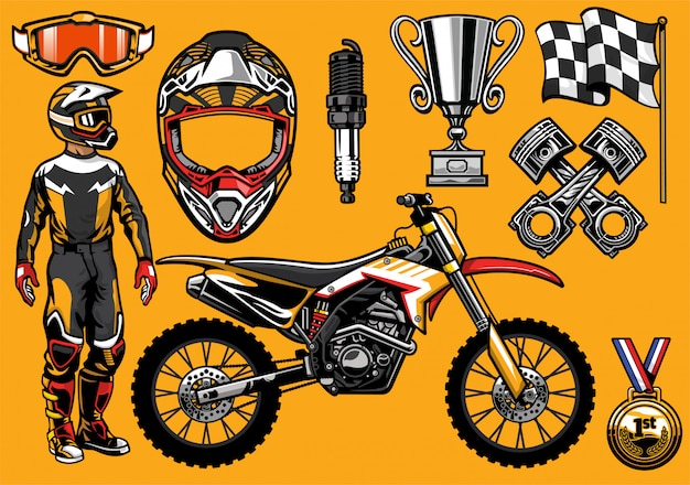 Set di elementi da corsa per motocross dettagliati