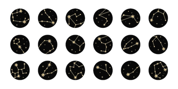 Insieme di punti salienti con stelle dorate e costellazioni. elementi magici mistici, oggetti di occultismo spirituale. stile minimal alla moda.
