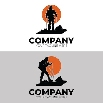 Set di ispirazione per il design del logo dell'avventura escursionistica