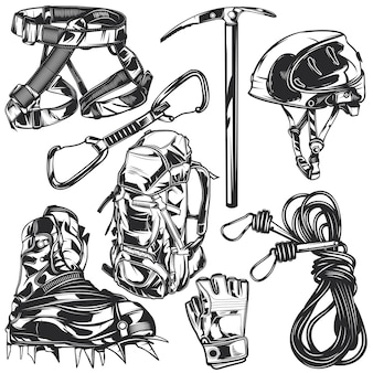 Set di elementi escursionistici per creare i propri badge, loghi, etichette, poster, ecc. isolato su bianco.