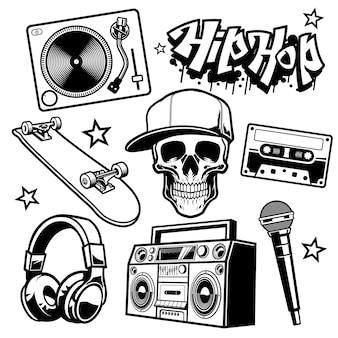 Insieme di oggetti di cultura hip hop