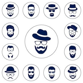 Set di avatar hipster.