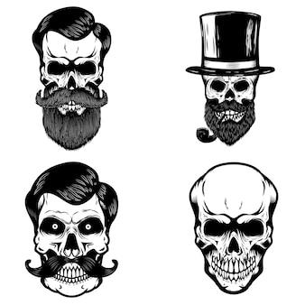 Set di teschi hipster su sfondo bianco. elemento per logo, etichetta, stampa, badge, poster. illustrazione