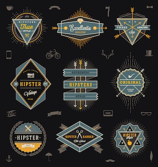 Insieme degli emblemi, delle etichette e del segno di stile dei pantaloni a vita bassa - illustrazione