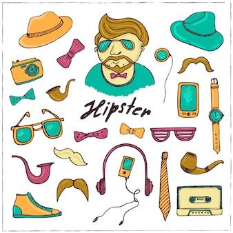 Set di schizzi di simboli di stile hipster