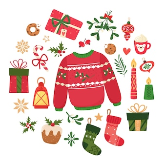 Set di icone di vacanza con maglione, candele, palle di natale, pan di zenzero, lanterna, rami, cupcakes, vischio, regali, calzini di natale, tazza. raccolta per scrapbooking.