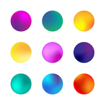 Set di sfera olografica gradiente. diversi gradienti del cerchio al neon. tasti rotondi variopinti isolati su bianco.