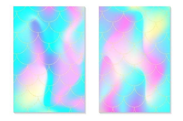 Set di sfondo arcobaleno olografico. squame d'oro sirena. stampa olografica per biglietto d'invito.