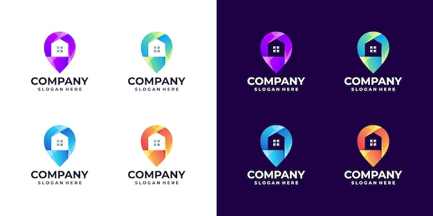 Set di gradiente del logo della posizione di casa