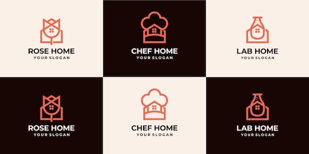 Set di combinazione logo casa logo monoline di lusso
