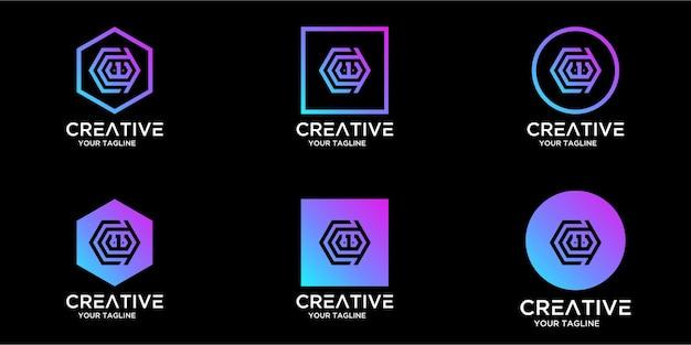 Set di logo per la casa combinato con modello di disegni di lettera cw