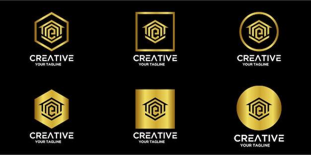 Set di logo per la casa combinato con la lettera e oro