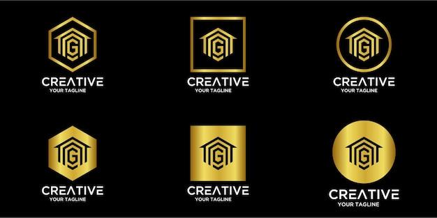 Set di logo per la casa combinato con la lettera g oro