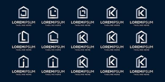 Set di logo di casa combinato con la lettera j, k, i, l, modelli di disegni