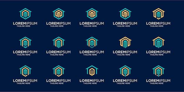 Set di logo per la casa combinato con il modello di design della lettera m