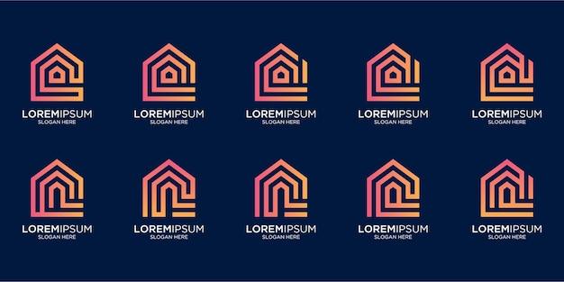 Set di logo per la casa combinato con il modello di design della lettera n