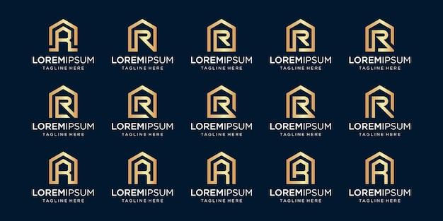 Set di logo di casa combinato con la lettera r, modelli di disegni.