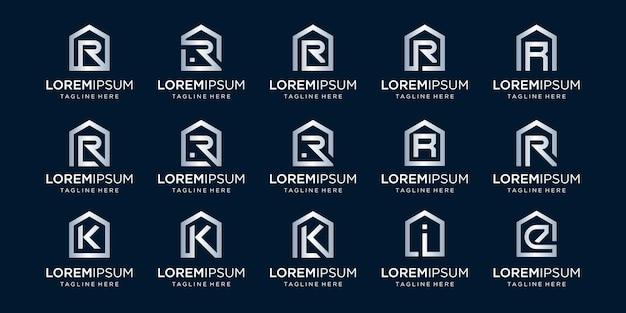 Set di logo per la casa combinato con la lettera r, k, i, e, modelli di design.