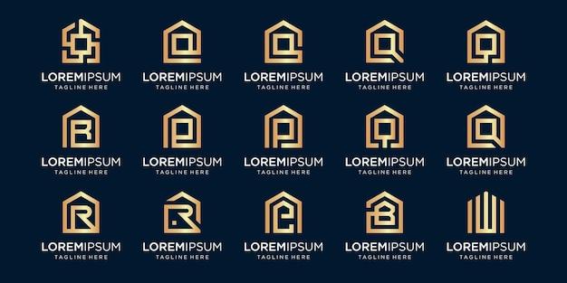 Set di logo di casa combinato con la lettera r, q, e, b, w, modelli di disegni