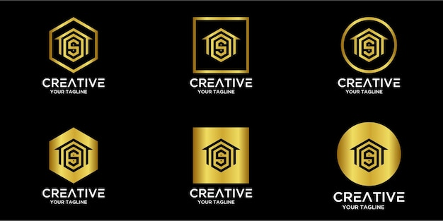 Set di logo per la casa combinato con la lettera s oro