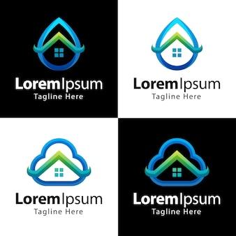 Set di modello di progettazione di logo di casa