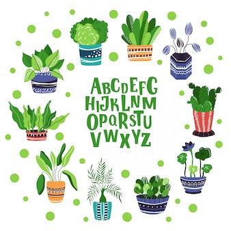 Set di piante in vaso a casa, alfabeto scritto a mano