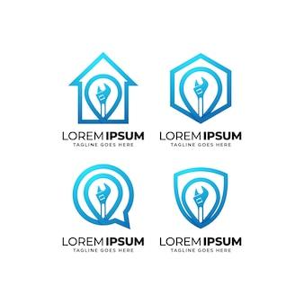 Set di design del logo del servizio di riparazione a domicilio