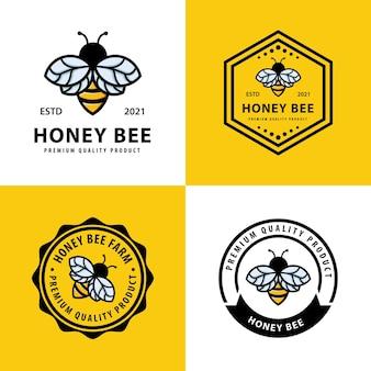 Set di modello di progettazione del logo dell'ape del miele