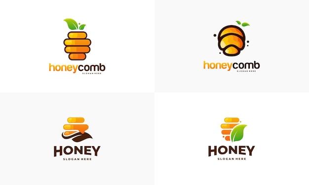 Insieme del vettore di progettazione del modello di logo del favo di miele, emblema, concetto di progetto del miele, simbolo creativo,