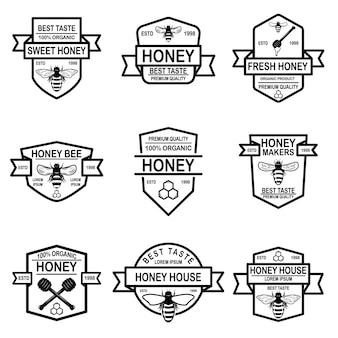 Set di modello di etichette di miele