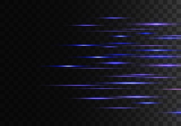 Insieme di linee di lenti a raggi orizzontali. raggi laser.