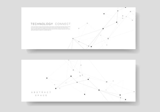 Impostare il modello orizzontale con il design di connessione. motivo geometrico astratto, punti composti e linee di fondo
