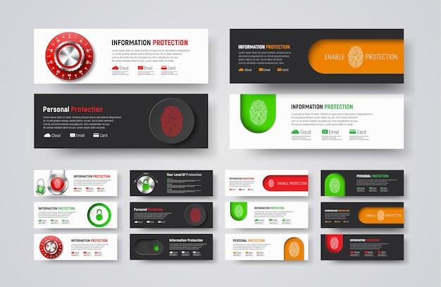 Set di banner web orizzontali per proteggere informazioni e dati.