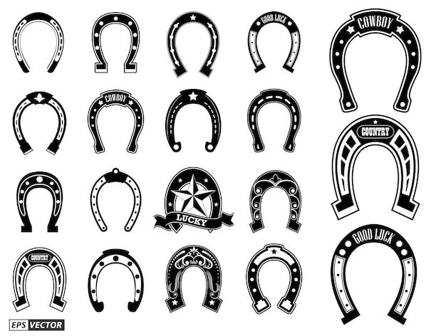 Set di silhoutte a ferro di cavallo o concetto di scarpe da cavallo in acciaio fortunato eps vector