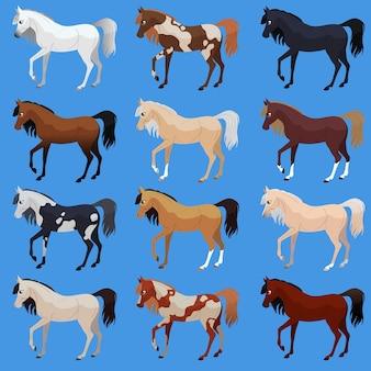 Impostare la razza dei cavalli. simpatico cavallo piatto. illustrazione vettoriale.