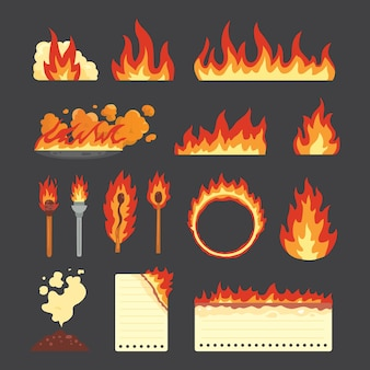 Insieme di elementi fiammeggianti caldi. accumulazione di vettore delle icone della fiamma di fuoco nello stile del fumetto. fiamme di diverse forme, incendi boschivi, fogli di carta in fiamme e simboli fiammeggianti.