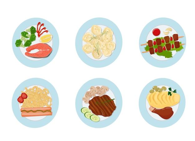 Una serie di piatti caldi di carne e pesce con contorno su un piatto di ceramica. vista dall'alto. vettore
