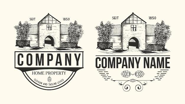 Impostare il logo della casa facciata dell'edificio in stile antico vecchia casa della città edificio in stile vintage illustrazione