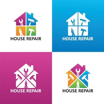 Imposta il vettore premium del modello di logo di riparazione della casa