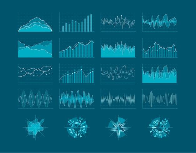 Insieme di elementi hud. interfaccia utente futuristica. elementi di statistica del diagramma di infografica. illustrazione