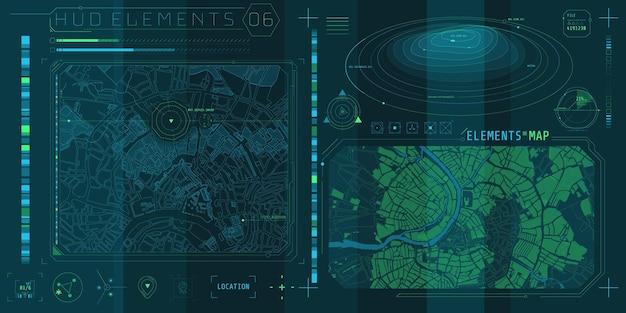 Una serie di elementi della mappa hud per un'interfaccia futuristica.