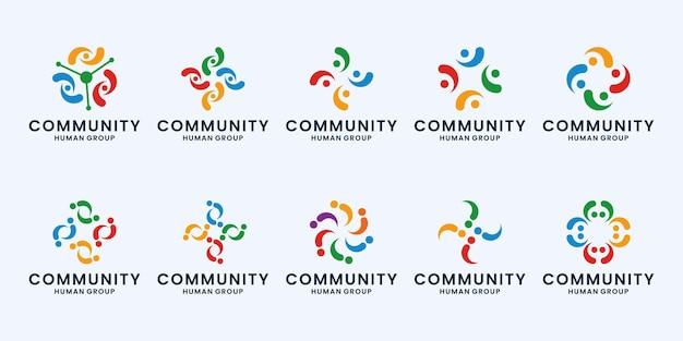 Set di raccolta di design del logo della comunità umana.