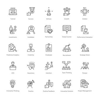 Insieme delle icone di vettore di linea di risorse umane